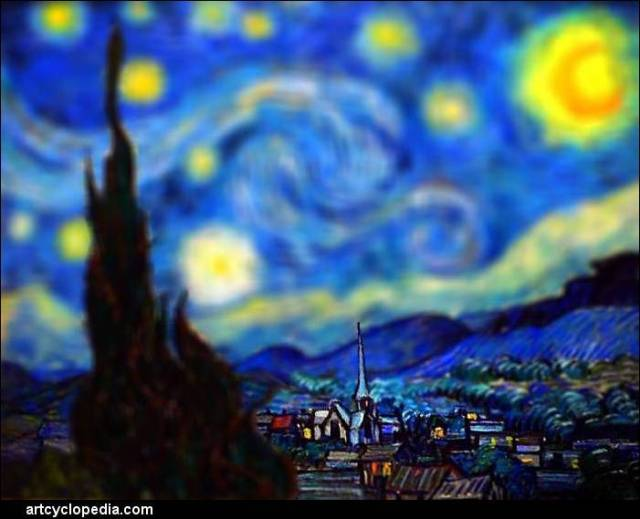 Van Gogh, Starry Night, with a tilt shift style effect applied