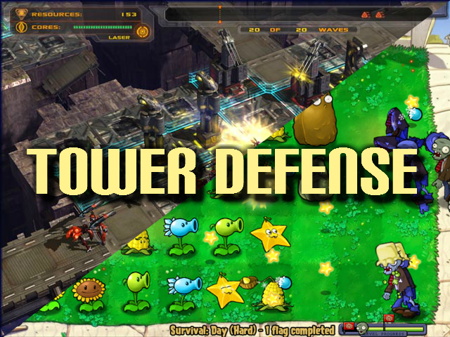 Intro Picture for Tower Defense games - showing Defense Grid: The Awakening and Plants vs. Zombies